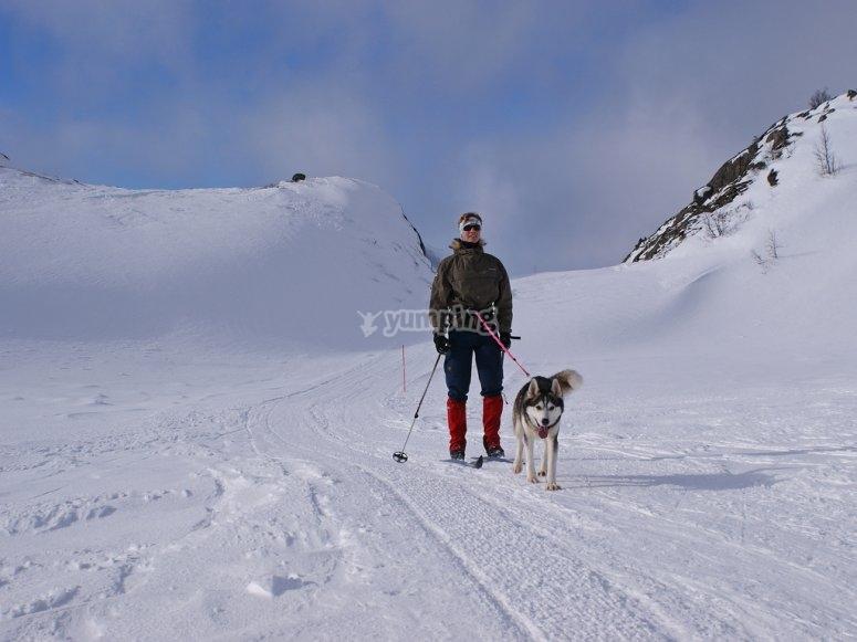 Practicando skijoring