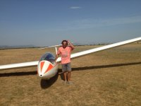 Posing with his ultralight