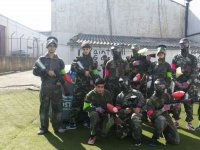 Dresses with full paintball equipment
