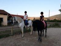 Chicas subidas a los caballos galegos