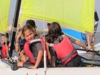 Checking the yellow sail