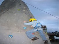 Practice climbing on a climbing wall