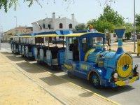 Tren azul y amarillo