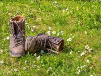 Hiking boots on the grass
