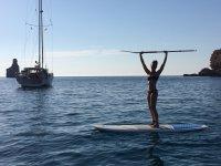 在海中举起桨