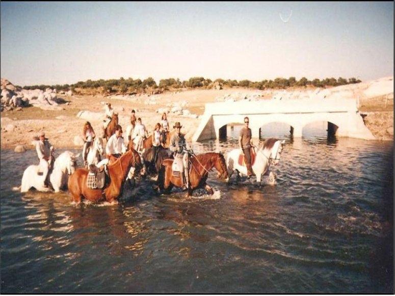 骑马穿过河流