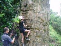Climbing in the zip line park