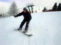 on the snowboard