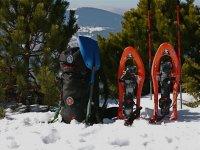 安全山上的雪鞋健行