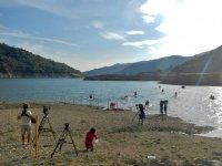 Filming in the Istan reservoir