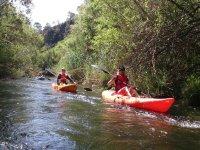 In canoe along the river in Marbella