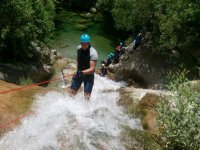 Rappelling in the Andalusian ravine