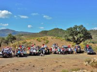 One stop in the Andalusian countryside with the vehicles