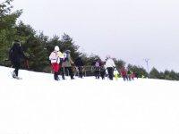 在雪地导游路线上