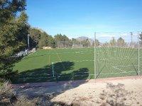 Vista del campo de futbol desde el latera