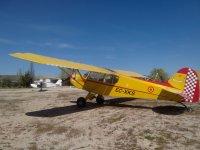 Avioneta amarilla en tierra