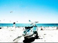 沙滩上的滑板车