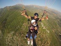 Paragliding over the mountain range