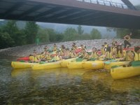 Canoes about to leave