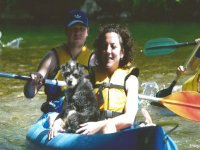 Sharing a canoe with a dog