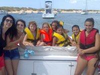 Grupo familiar en el velero