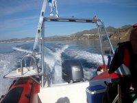 en el barco antes de la inmersion