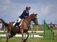 Montando a caballo en pista de obstaculos