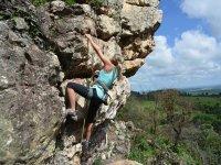 Climber using hands and feet