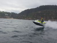 Accelerating the motorcycle over the sea