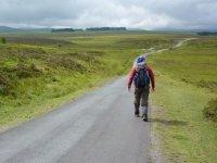 Camminando su strada asfaltata