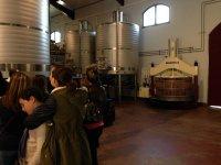 Los tanques con el vino en fermentación