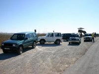 Off-road vehicles next to the Ebro