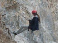 Rappel in dry ravine