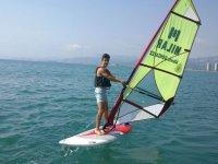 Windsurfing lesson in the Mediterranean