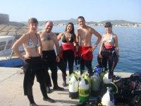 Preparando en material para la inmersion