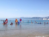 Classes of water sports on the shore