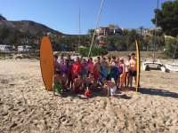 Group of nautical school with surf