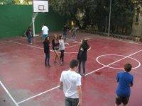 Basketball in the yard