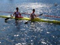 Practicing canoeing