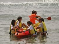 Students going up to the kayak in the Mediterranean