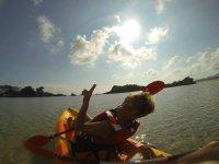 Practice canoeing in Noja