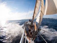 Sailing on a 14-meter sailboat