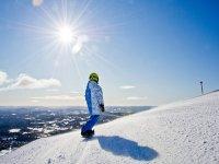 We practice snowboarding in Sierra Nevada