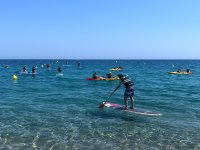 Paddle surf near the shore