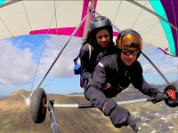 Flying over Lanzarote in hang gliding