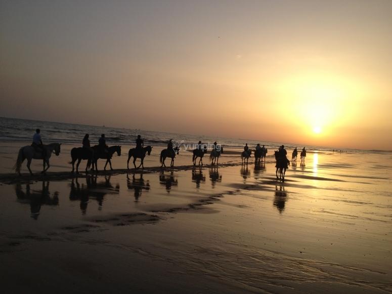Coucher de soleil équitation Huelva