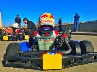 Vision trasera kart y piloto