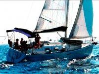 Blue sea sailboat
