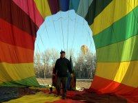 Checking the balloon sail