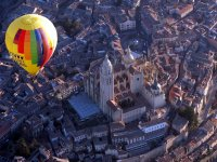 Over the Cathedral of Segovia on board the balloon